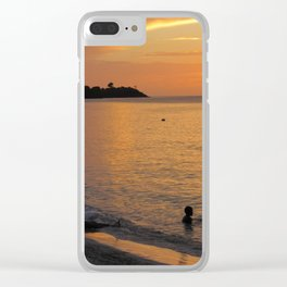Sunset over Grand Anse Clear iPhone Case