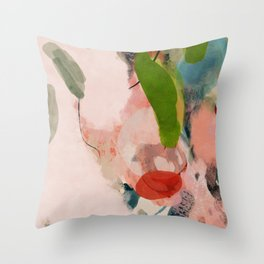 pink summer roses 1 triptych abstract  Throw Pillow