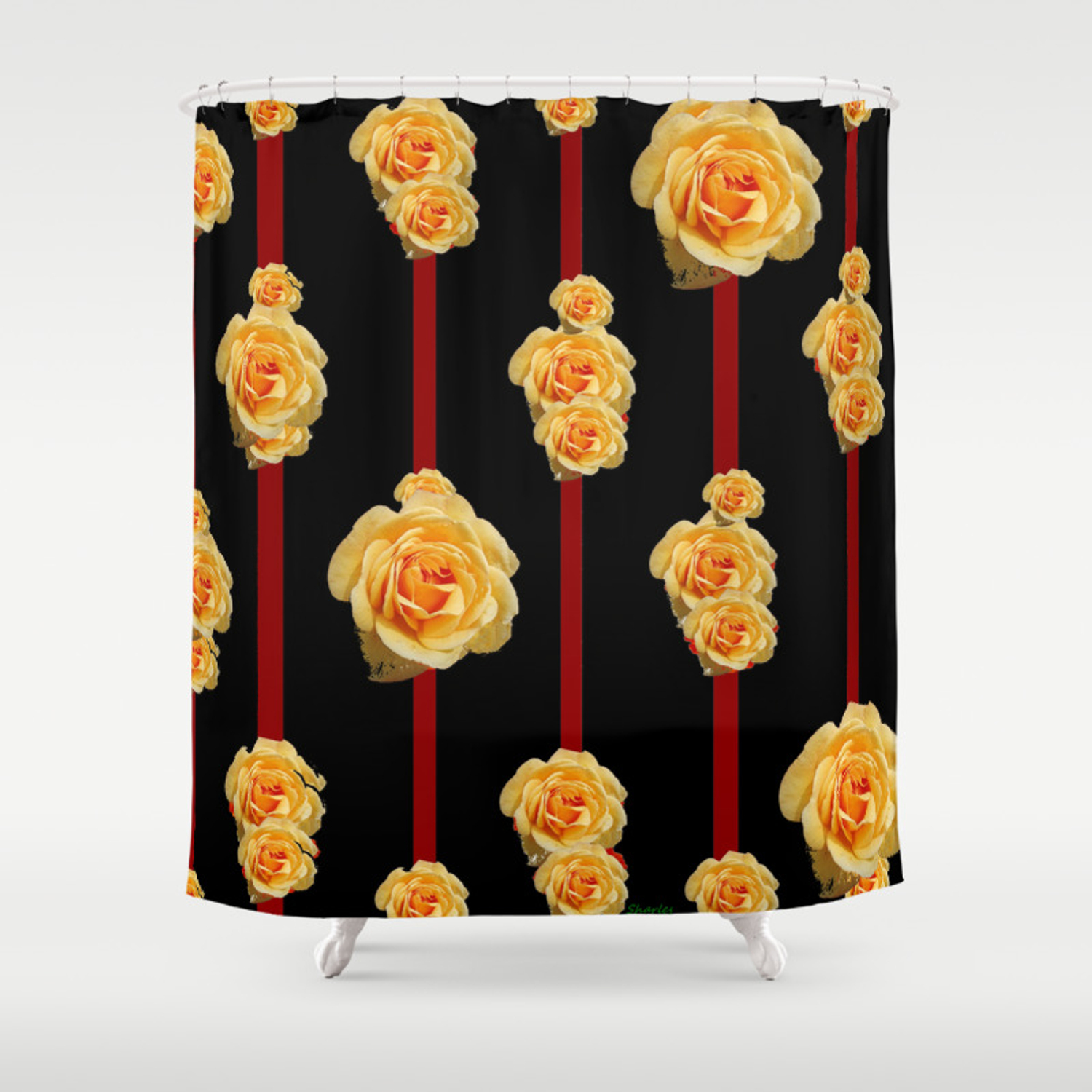 Contemporary Peach Color Roses On Black Shower Curtain By Sharlesart Society6