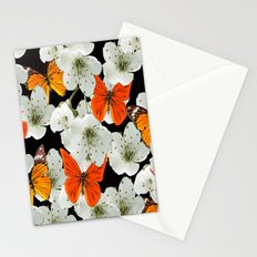 Cherry flowers and colorful butterflies on a black background Stationery Cards