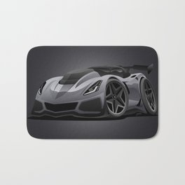 Modern American Sports Car Cartoon Bath Mat