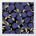 Blue watercolor roses on a black background . by fuzzyfox85