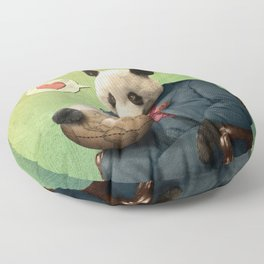 Wise Panda: Love Makes the World Go Around! Floor Pillow