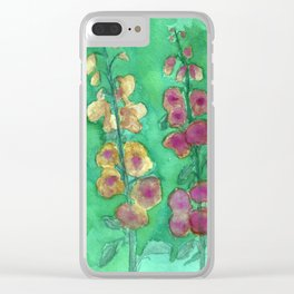 Hollyhock Foxglove Watercolor Honey & Berry on Green Clear iPhone Case