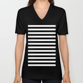 Black and White Horizontal Strips Unisex V-Neck