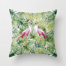 Aloha Flamingo Bird Animal in Jungle on #Society6 Throw Pillow
