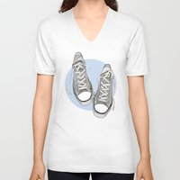 converse V-neck T-shirts featuring Converse by maeveelectro
