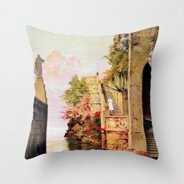 1920 Romantic Lenno Lake Como Throw Pillow
