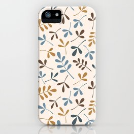 Assorted Leaf Silhouettes Ptn Blues Brwn Gld Crm iPhone Case