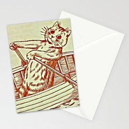 Cat Row Boating  - Louis Wain Cats Stationery Cards