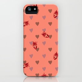 Orange Heart Pattern iPhone Case