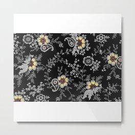 Black Floreal Texture Metal Print