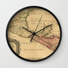 Map Of Central America 1656 Wall Clock