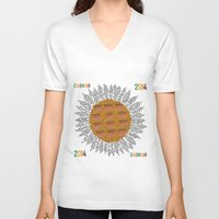 calendar V-neck T-shirts featuring Calendar 2014 - Sunflower by Julia Kisselmann
