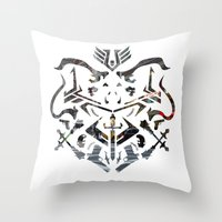 fire emblem Throw Pillows featuring Emblem by Jeevesmeister
