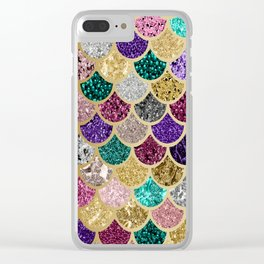 Mermaid Colorful Rainbow Scales Gold Clear iPhone Case
