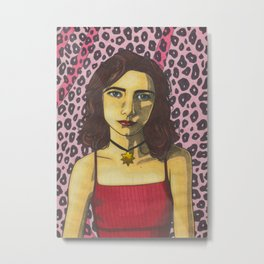 Polly Jean and the Pink Leopard Metal Print