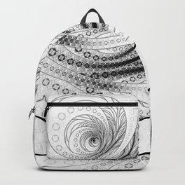 White on Black Circular Fractal of a Jinbaori Samurai Symbol Backpack