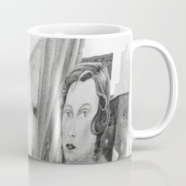 Frida Painting at Easel, Black and White Vintage Photograph Coffee Mug