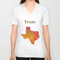 texas V-neck T-shirts featuring Texas Map by Roger Wedegis