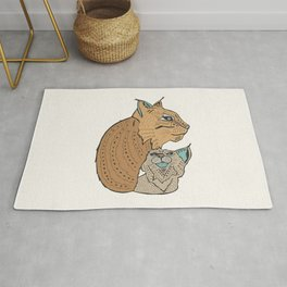 Mama And Baby Lynx Rug