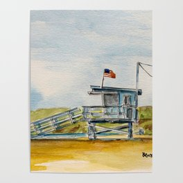 Santa Monica Beach - Lifeguard Tower #8 Poster