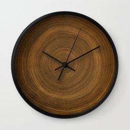 Detailed rich dark brown wood tree rings pattern Wall Clock