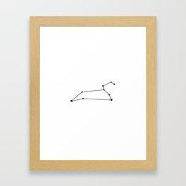 Leo Star Sign Black & White Framed Art Print