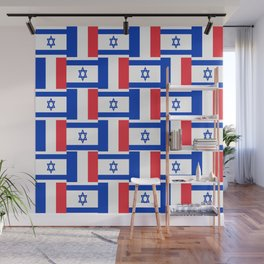 Mix of flag : france and israel Wall Mural