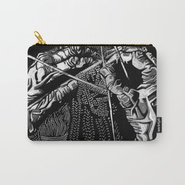 Geometric Black and White Drawing Kitting Hands Carry-All Pouch