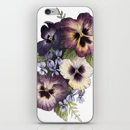 Watercolor Pansy Bouquet iPhone Skin