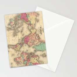 Vintage Map of The World (1860) Stationery Cards