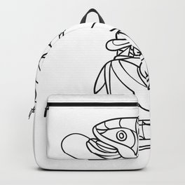 Fly Fisherman Catching Trout Mosaic Black and White Backpack