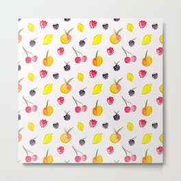 Fruit Salad - Watercolor & Ink Pattern Metal Print