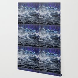 Mountain valley Auroras Wallpaper
