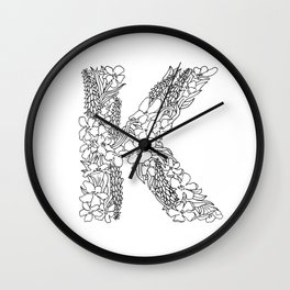 Floral Type - Letter K Wall Clock