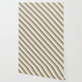 Diagonal Stripes in Olive, Terracotta, Tan and Cream Wallpaper
