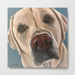 Yellow Lab Painting, Upclose Dog Art Metal Print