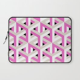 Pink and White Pattern with Grey and Black Fractal Art Laptop Sleeve