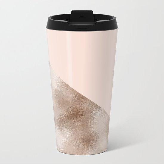 Blush and taupe shine Metal Travel Mug
