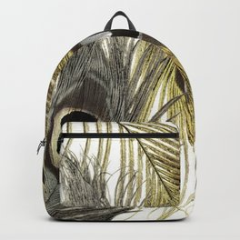 Gold and Silver Peacock Feathers Backpack