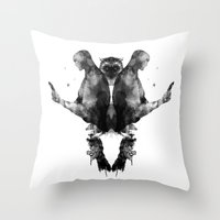 watchmen Throw Pillows featuring Watchmen by Laura O'Connor