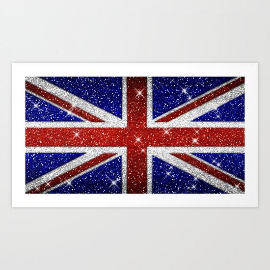 Glitters Shiny Sparkle Union Jack Flag by tees2go