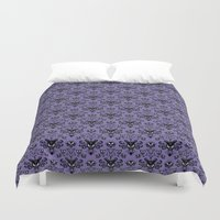haunted mansion Duvet Covers featuring Haunted Mansion Wallpaper by MiliarderBrown
