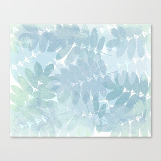 Vintage Blue Leaf Abstract Canvas Print