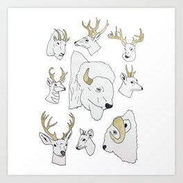 Horned Mounts Art Print
