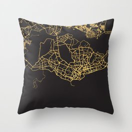 SINGAPORE GOLD ON BLACK CITY MAP Throw Pillow