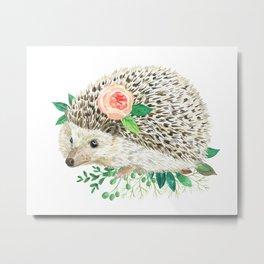 hedgehog with rose Metal Print