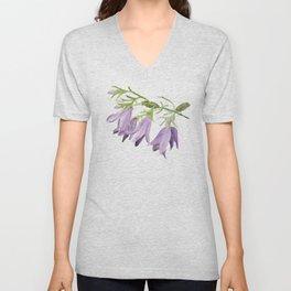 Purple bell flowers Unisex V-Neck