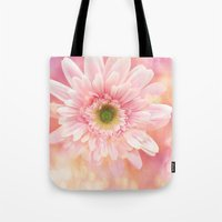 shabby chic Tote Bags featuring Shabby Chic Daisy Flower by Kathy Fornal
